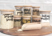Beautiful & Unique Bamboo Kitchen Spice Jar Set